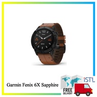 Garmin Fenix 6X Sapphire Black DLC with Chestnut Leather Band