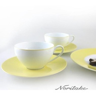 【NORITAKE】繽紛世界咖啡對杯-檸檬黃(附贈禮盒)