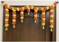 Artificial Marigold Door Toran (Yellow & Dark Orange, 1Pc) Diwali Deepawali Deepavali