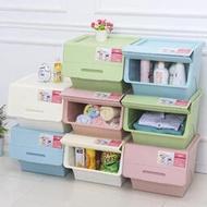 收納箱塑料斜翻蓋透明側開整理箱前開式兒童玩具零食收納盒儲物箱