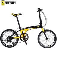 FERRARI法拉利 f-09 20吋7速鋁合金折疊單車自行車-黑/黃