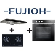 FUJIOH FR-MS1990R 90CM SLIMLINE HOOD + FUJIOH FH-GS5520 SVGL 2 BURNER GLASS HOB + FUJIOH FV-EL51 60L MULTIFUNCTION OVEN