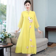 2021 women chinese floral embroidery qipao oriental styled dresses chiffon chinese style modern cheongsam dress oriental qipao
