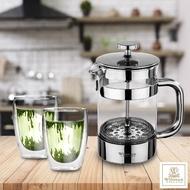 【英國WILMAX】不鏽鋼法式濾壓耐熱玻璃茶壺 附雙層耐熱玻璃杯雙入(800 ML)