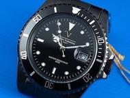 Emilio Valentino范倫鐵諾全不鏽鋼黑水鬼submariner日本星辰机芯,防水50米,黑陶瓷鎢鋼色澤