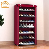 SHHOMEชั้นวางรองเท้า ตู้เก็บรองเท้า 3ชั้น จำนวน 9 คู่ ผ้าคลุม กันน้ำ กันฝุ่น พร้อมช่องเก็บของด้านข้าง ตู้ใส่รองเท้า ชั
