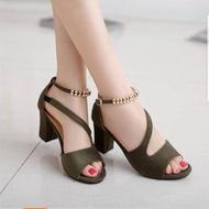 🍓🌶รองเท้าคัชชูรัดส้น รองเท้าออกงาน ตกแต่งสวยงาม ส้นสูง 1 นิ้ว F049 สีเขียว สีดำ สีเงิน🍓🌶