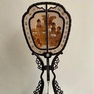 早期收藏-復古式屏風扇子檀香大擺件
