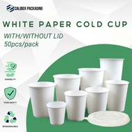 Calibox Packaging White Paper Cup (with or without lid) 50pcs 22oz 16oz 12oz 8oz 6.5oz