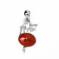 【大東山樑御珊瑚】天然紅珊瑚十二生肖龍年925純銀鍍白K