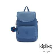 【KIPLING】優雅天穹藍拉鍊後背包-CARAF
