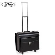 หนัง PU สีดำกระเป๋าเดินทางแบบลาก Spinner ผู้ชายกระเป๋าเอกสารล้อ18นิ้วผู้หญิงพกพารถเข็น Pilot Travel กระเป๋า