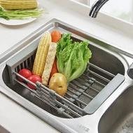 瀝水籃 優思居 可伸縮不銹鋼水槽瀝水架 廚房洗菜瀝水籃洗碗架碗筷置物架