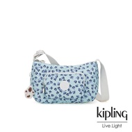 【KIPLING】典雅淡藍小花雙拉鍊口袋側背包-SAMARA
