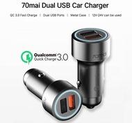xiaomi 70mai QC 3.0 Quick charge Metal Case Mini 2USB Port 70mai Car Charger