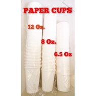 Disposable Plain White Paper Cups 12 Oz. 8 Oz. 6.5 Oz. (Single Wall) 50s