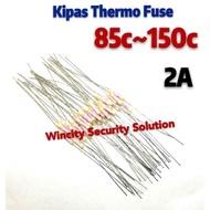 WSS (5pcs) 2A Kipas Thermal Fuse/Fan Thermal Fuse (80c)