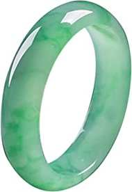 Classic Retro Oriental Style Natural Jade Bangle Burmese Full Light Green Floating Flower Round Bar Link Bracelet,Crystal Natural Stone For Men Women Holiday Gift. (Size : 60-62mm)