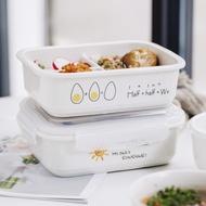 上班族帶飯四面扣陶瓷飯盒分格微波爐日式分隔三格便當盒保鮮碗