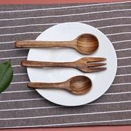 SRJUD สไตล์ญี่ปุ่นเด็กกาแฟของหวาน Stirring เครื่องใช้บนโต๊ะอาหารทำจากไม้ช้อนผสมช้อนซุปไม้ช้อน