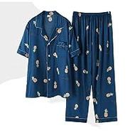 BENGKUI đồ ngủ cho nam giới, đồ ngủ nam bộ đồ ngủ satin đồ ngủ đồ lót đồ lót trái cây in màu đỏ giản dị mùa xuân hè mùa thu quần áo ngủ ở nhà
