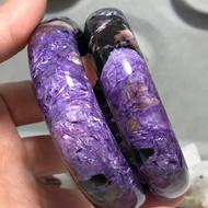 19圍 部份玉化 閃絲 帶黑碧璽紫龍晶手鐲