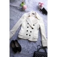 [ JUST LIKE ] 日本OL品牌 U're 高質感白色雙排扣 修身顯瘦顯毛呢短版大衣 原品牌Nice Claup