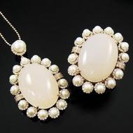 【蕾帝兒珠寶】-幸福花嫁天然珍珠白玉髓套組