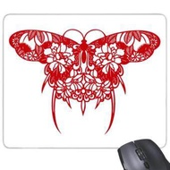 Chinese Kite Butterfly in Red Rectangle Non-Slip Rubber Mousepad Game Mouse Pad Gift