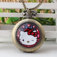 Hot Sales Vintage Hello Kitty Pocket watch watches Kids' watch watches Cartoon Pocket watch watches Students women watch watches Pocket watch watches Gift