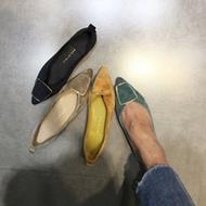 pre order size 35-39 รองเท้าคัชชู หนังpu กำมะหยี่ นุ่ม ใส่สบาย เขียว เหลืองดำเทา