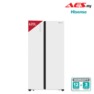 HISENSE 620L Twin Cooling System Touch Control Side By Side Fridge - White Glass RS686N4AWU