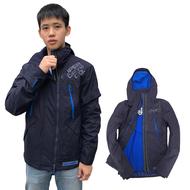 Superdry 極度乾燥 男款 刷毛防風衣 防潑水雙拉鍊外套夾克 經典撞色 英國正品現貨-海軍藍