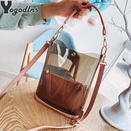Transparent Bag Women's bag 2pcs/set Luxury Handbag Fashion PVC Clear Bag High Quality Handbags bolsa feminina Bucket Cr