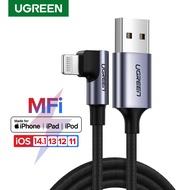 【Certified โดย Apple】UGREEN 1เมตรที่ชาร์จ iPhone,มุมขวา90องศา Lightning สายสำหรับ iPhone 11/11 Pro/ 11 Pro Max/XS/XS Max/XR/X/8/8 Plus/ 7/7 Plus/iPad Air 2เกมสาย