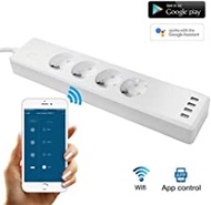 WiFi Power Strip,Surge Protector with 4 USB and 4 Smart Plug, Compatible with Alexa Google Home Nest (Color : EU WiFi Power Strip, Standard : EU Plug)