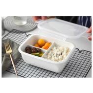 【傑品】(三格扣蓋)純白瓷陶瓷便當盒850ml 陶瓷分隔陶瓷分格 陶瓷分格飯盒 保鮮盒 便當盒