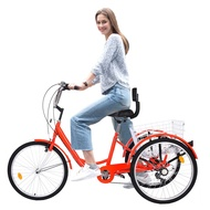 24 Inch Adult Tricycle Trike 3 Wheel Bike 1/7 Speed Shift + Installation Tools Adult Tricycle For Shopping with Basket#H