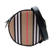 BURBERRY Louise 格紋帆布拚牛皮手拿斜背兩用圓餅包(8027293-卡其)
