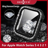 Diamond Case Cover with Glass Film For Apple Watch 5 4 3 2 1 Series For Apple watch 38mm 40mm 42mm 44mmfull Screen protector Bumper Frame plating Case