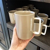 Starbucks taupe handle mug 12oz