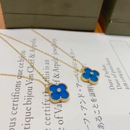 【樂購好物】Van Cleef & Arpels(梵克雅寶)  藍色 四葉草項鍊 鎖骨鍊 梵克雅寶 聖誕限量版項鍊