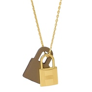 HERMES KELLY款鎖頭造型皮革項鍊(金/駝灰)