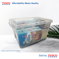 Tesco Multipurpose Storage Container Box 9807NC with roller (75 Litre) Assorted Color Clip