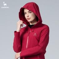 CHAMOIS 女裝 達美斯特 防水透氣保暖連帽長版風衣外套(酒紅色)