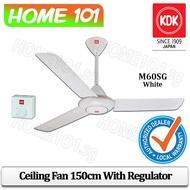 "KDK M60SG Ceiling Fan 150cm with Regulator *only 9"" rod length*"