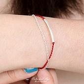 銀飾 紅線手鍊彎管蠶絲蠟線純銀