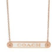 COACH 經典LOGO鐵牌鑲鑽邊造型項鍊.玫瑰金/白