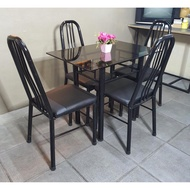 DINING SET GLASS TABLE 4 SEATER