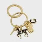 COACH 鎖頭鑰匙黑馬鑰匙圈-金色
